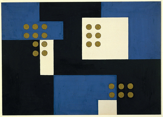 Design for screen and portfolio cover. Black ground over which rectilinear shapes in blue and white are arranged in asymmetrical composition. At upper left, right, and lower right, arrangements of paired circles in gold paint are superimposed over design.