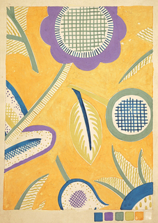 Vertical rectangle. Textile design with abstract flowers, perhaps sunflowers, interspersed with leaves. Color scale in lower right.