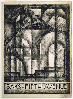 "A cubist composition of light shining through overlapping, transparent arches with the name ""Saks-Fifth Avenue"" beneath."