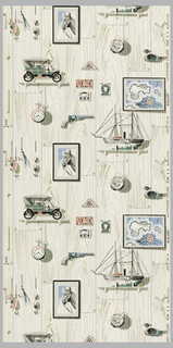 Children's paper with ecrue and grey wood facade ground with gold highlights. Trompe l'oeil images of fishing lures, stamps, early models of cars, watches and boats, and a framed portrait of a horse printed on a paneled wood grain background. Printed in green, pink, blue and shades of grey.