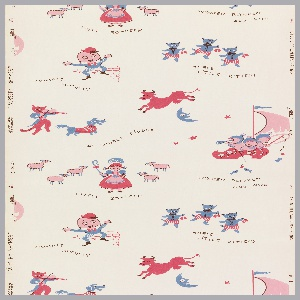Children's paper of nursery rhymes with Wynken, Blinken, and Nod, Little Bo Peep, Three Little Kittens, and Humpty Dumpty. Printed in brown, blue, and pink on a white ground.