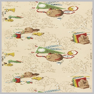 Children's or boys' paper with scouting accessories as the primary motif including bugle, lantern, canteen, hat, shovel, ax, and books. Background imagery of scouting activities such as campfire cooking and hiking printed in brown with white highlights, on tan ground.