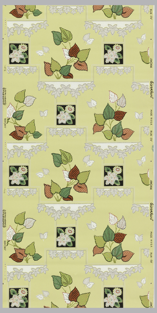Patterned leaves of green and pink on a yellow ground interspersed by black squares containing white and green flowers. Geometric lines and small ivy leaves of grey, white, and metalic silver run on a horizontal across the paper.