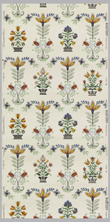 Pennsylvania Dutch style flowers running vertically and ending in scrolls or flower pots. Royal blue, red, green, grey and black with metallic silver highlights on a white ground.