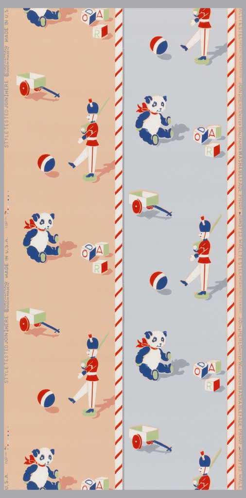 Children's wallpaper, with pink and blue horizontal stripes containing toys such as a teddybear, toy soldier, wagon, balls, alphabet blocks of red, blue, light green and white bordered by barber pole stripes.