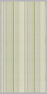 Vertical stripes on putty ground, alternating wide and narrow bands of lime-green, green, and white.