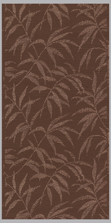 Dark rose ground with horizontal threads of dark wine overlaid with a pink all-over design of slender leaves.