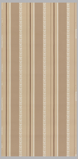 Horizontal stripes on rose ground with light rose and wine and white lacy design stripe.