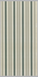 Vertical stripes of grey and green on a light grey ground. Thin accent stripes of white and metallic silver with metalic silver dots bordering the grey stripe.