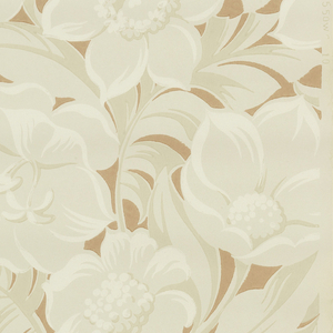 Large all-over floral design of tan and white defined by patches of rose on a light tan ground.