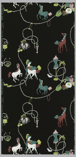 "Freely arranged objects including slipper, umbrella, bouquet, horses, flat iron, and knitting ball. Printed in pink, green, white and lime-green on a black ground. Described in The Wallpaper Magazine as ""powder room design with horses and dress maker forms."""