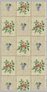 Squares formed of horizontal or vertical brown bamboo sticks. In each center is placed a red flower and green leaves or a bunch of purple grapes. Printed on an eggshell ground.