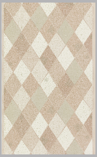 Harlequin or diamond trellis pattern in four shades of pink with weave and texture overlays of white and metallic gold.