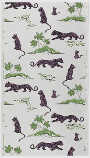 Magenta tigers running or sitting on hills with two or three green palm trees with white or black highlights on metallic silver ground.