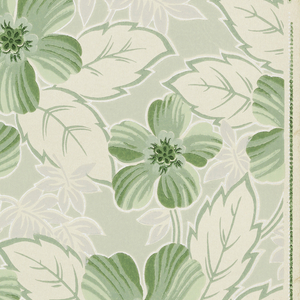 Allover floral pattern with green flowers on a light green background, grey leaves with metallic silver highlights, and white leaves edged in green on a white ground.