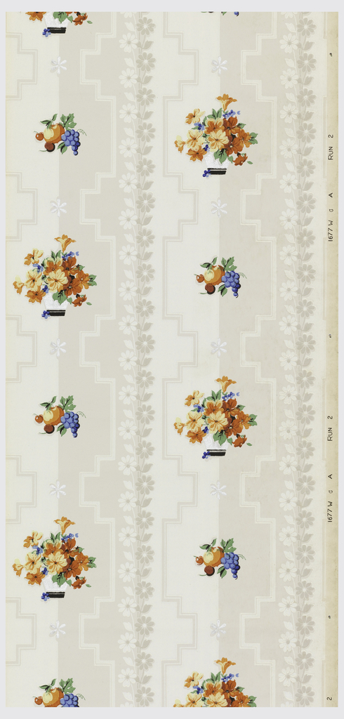 """Two tone background stripe of grey and white with bands of daisies running vertically overlaid with pots of flowers in orange, red, blue and green and bunches of fruit. Metallic silver daisies placed throughout on a cream ground. Printed on salvage: """"1677W A RUN 2"""""""