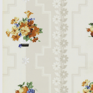 "Two tone background stripe of grey and white with bands of daisies running vertically overlaid with pots of flowers in orange, red, blue and green and bunches of fruit. Metallic silver daisies placed throughout on a cream ground. Printed on salvage: ""1677W A RUN 2"""
