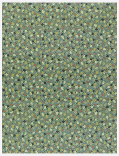 Yellow, black, white, and red dots on a varnished blue green ground.
