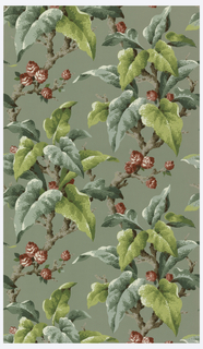 Teal and green leaves with tan branches and red, pink, and white roses on a sage green ground.