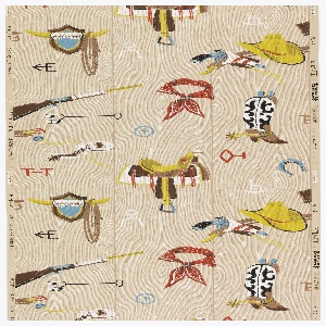 A paper for children or a den. Imitation wood paneled background hung with Western objects, including a bandana, a cowboy boot, branding irons, a rifle, a saddle, a yellow cowboy hat, and horse shoes. Printed in red, turquoise, lime green and white on a beige ground.