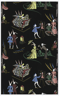 "White rabbits dressed up in Victorian garb, posing as ""can-can"" dancers, artist painting a couple's portrait, swimmers, riding a bicycle built for two, or as fine ladies and gentlemen. Clothing is red, pink, blue, yellow, and green with metallic gold on a black ground."