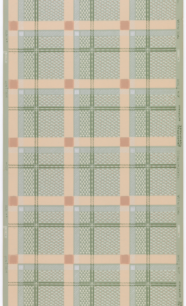 Peach, white, and green plaid with an imitation weave and metallic silver on a light green ground.