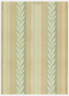 Stripe of white leaf design on green bordered by coral stripes and white stripes with silver on an ungrounded paper.