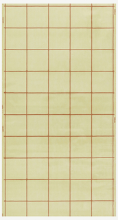 Beige or pale yellow tile design with red grout.