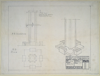 The drawing has three full-scale images of the base:  upper left from front; center right:  in perspective; lower left.  The stem resembles an extruded eye-beam set on a stepped based. The stamp of the Deskey office in the lower right. Scale is noted throughout the drawing.