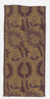 "Block-printed twill fabric in gold on purple showing ""pomegranate"" design in the style of 15th century Venetian velvets."