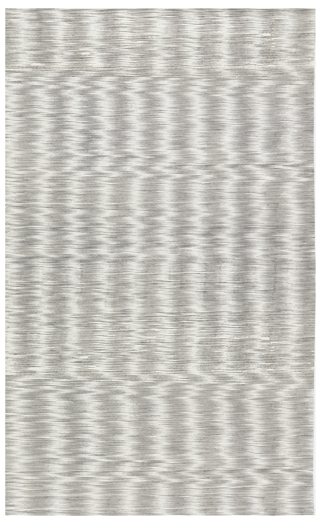 Fine horizontal lines of black and white ink on a natural ground, slightly off-set to create a moiré pattern.
