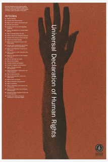 "On a red background, there is a silhouette of forearm and hand in black. Atop the arm in white print reads ""Universal Declaration of Right"".  Along the top left side of the poster lists the 30 articles of the Universal Declaration of Human Rights (UDHR)."