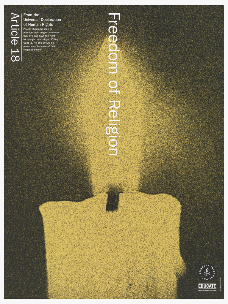 """Background of candle tip and flame.  Image is colored in yellow with white print.  Vertically reading down at center is """"Freedom of Religion"""".  On top left corner is """"Article 18"""" printed from the Universal Declaration of Human Rights."""