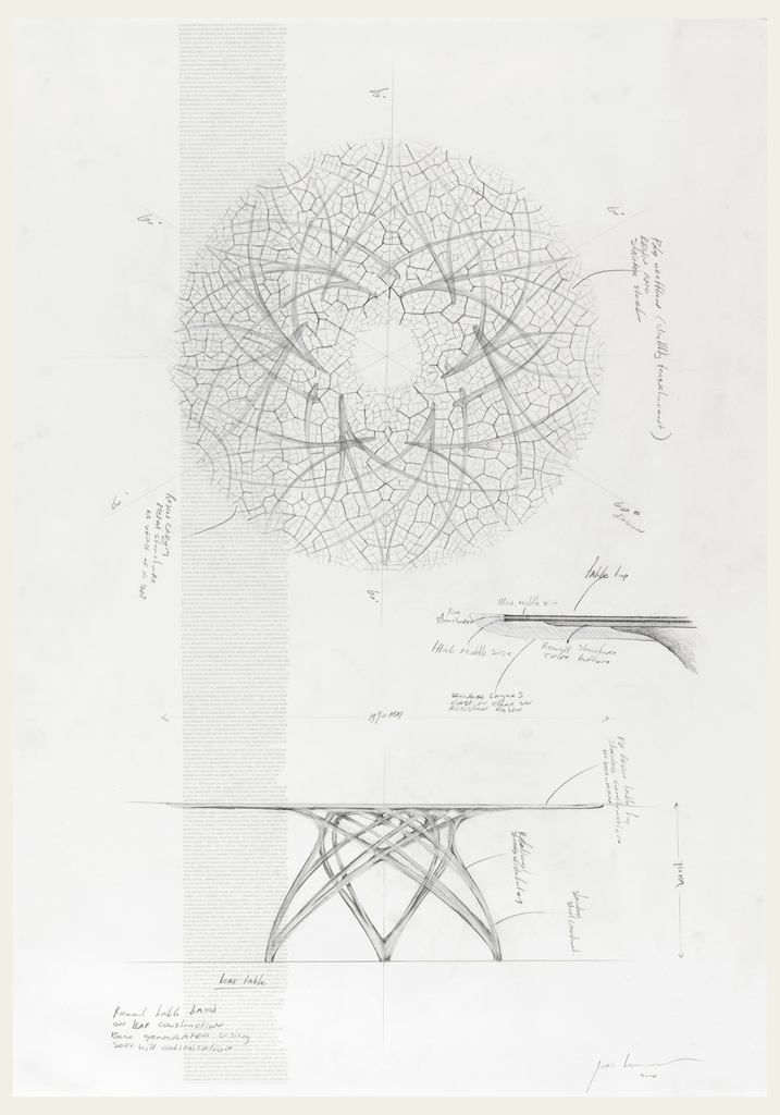 Design for a circular table: plan, elevation, and detail. Plan of table shows veined pattern; detail of elevation where table top meets support; elevation shows three legs in wishbone-like design that join at the top. Left margin, column of printed text in light gray. Inscriptions in graphite throughout.