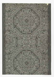 Stylized straw weave pattern. Interlocking rows of octagons. Light gray and metallic copper color on dark gray ground.