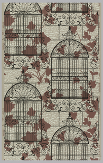 Grey and cream brick patterned background with rose colored ivy superimposed by black grillwork on a tan ground.