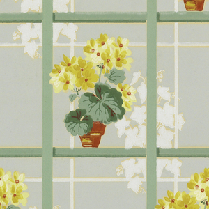 Potted yellow geraniums with green and yellow leaves and bunched ivy behind large squared white lattice on a pale green ground.