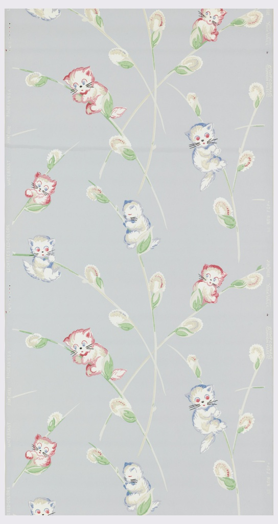 Children's paper with white and pink or blue kittens clinging to grey and white pussy willow branches with green leaves on a pastel blue ground.