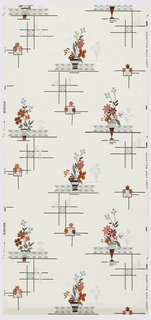 Red and orange flowers with pink and metallic silver in containers placed on geometric horizontal bars of grey and black on an ivory ground.
