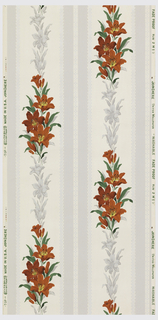 Cream and grey floral stripe of grey and red lily with metallic silver. Ground is cream.