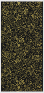 Metallic gold flowers and leaves in an all-over design on a black ground.