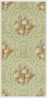 Fruit arrangement of pears, apples, grapes, and cherries in shades of lightyellow, peach, blue and green set in panel with scrolls and emblems which are dark green on a pale green background. The ground is ivory.