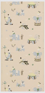 Children's paper with a circus theme. Figures include clown, elephant, dancer standing on horse, tiger jumping through ring, and circus tent. Figures are printed in blue, green, yellow, black, brown, and white. Background has white dots and stars on a pink ground.