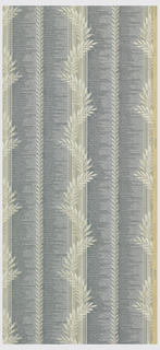 Veritical stripes of a white bayleaf, grey and white fern leaves and a stripe of a blue imitation weave on a beige ground.