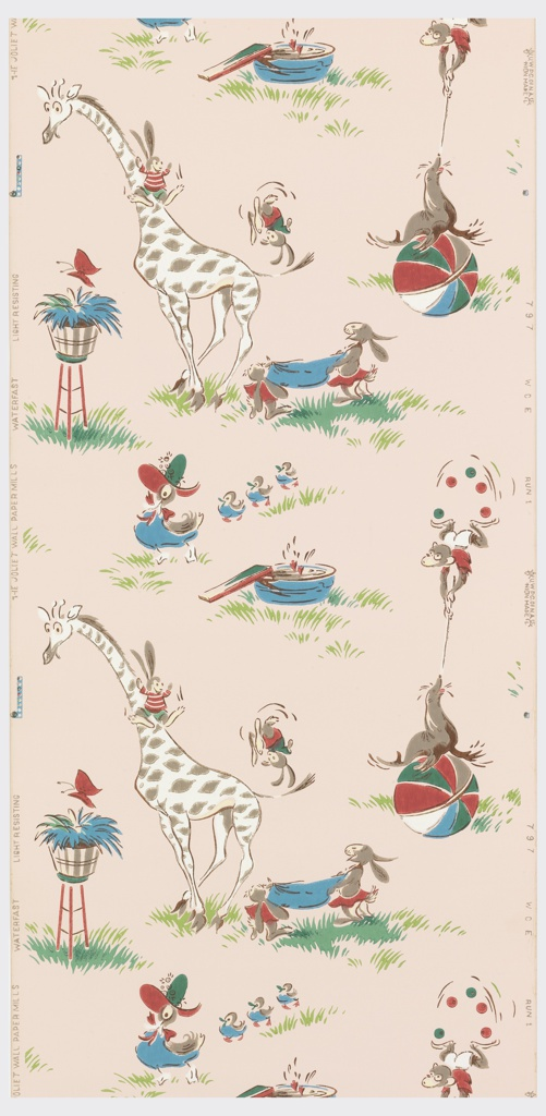 Children's paper of animals such as a seal on a ball, a giraffe with a rabbit on its neck, butterfly on a planter, and a monkey on a seal. Printed in brown, green, turquoise, and white on a pink ground.