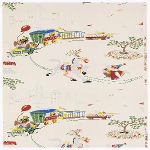 Children's paper with circus motifs. A circus train filled with animals driven by a monkey or gorilla, a city skyline, a white horse with plume, a clown and a small tree. Printed in primary colors with metallic silver on a white ground.
