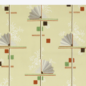 Brown vertical stripes and red and green horizontal stripes with brown, red and green cubes as a background. White flowers and grey and metallic silver fans on the horizontal stripes on a beige ground.