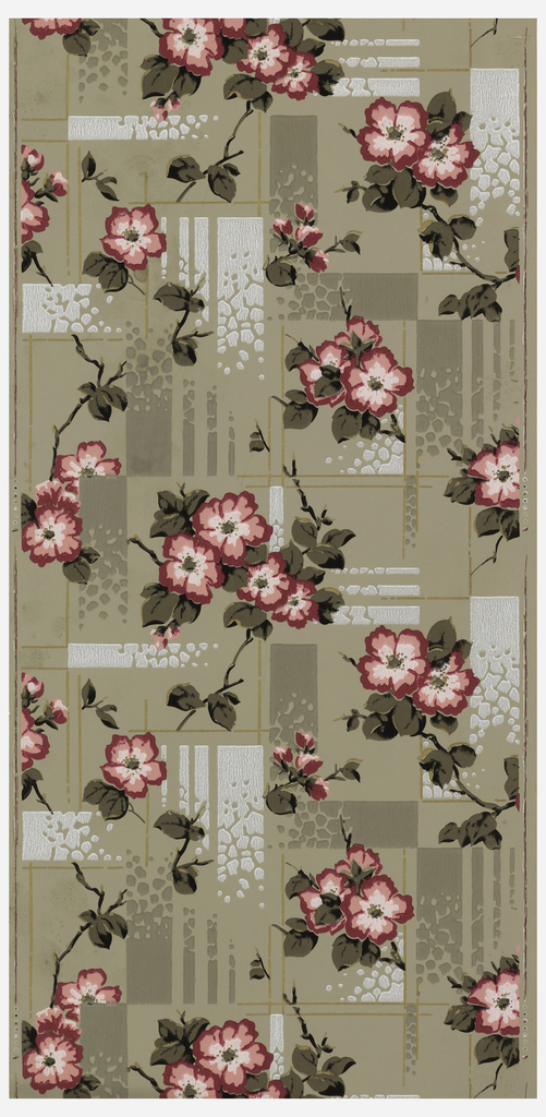 Pink-flowered branches on geometric-patterned background. Rectangular shapes fade-out from solid to pebble texture to nothing. Printed in pink, taupe, metallic silver and gold on light taupe ground.