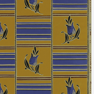 Grid or tile pattern composed of horizontal stripes and stylized tulips. Black dots separate columns. Printed in blue, red, yellow-orange and black on ungrounded paper.