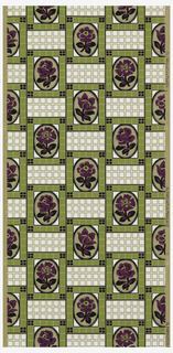 Floral cameo set within a green tile framework.  4 different floral cameos repeat with white tile grid separating. Purple, green, white and black on ungrounded paper.